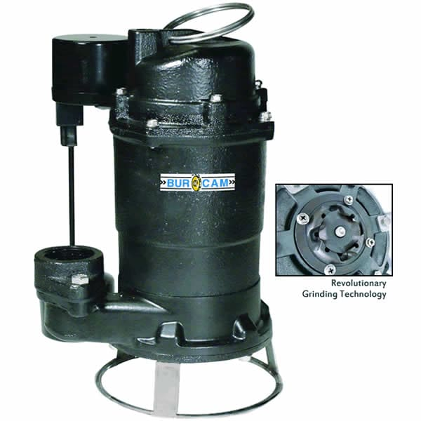 "Bur-Cam 3/4 HP Cast Iron Residential Grinder Pump (2"") w/ Thether Float"