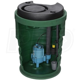 "Little Giant 9SF2V3DA1 - Pit Plus® Sr. 4/10 HP Premium Simplex Sewage System w/ Tether Float Switch & Indoor Alarm (2"" Vent, 3"" Discharge)"