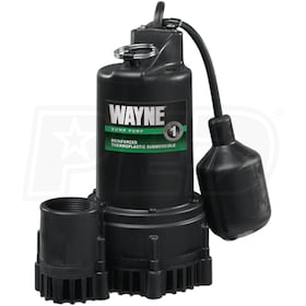 Wayne RSP130 - 1/3 HP Thermoplastic Submersible Sump Pump w/ Tether Float Switch