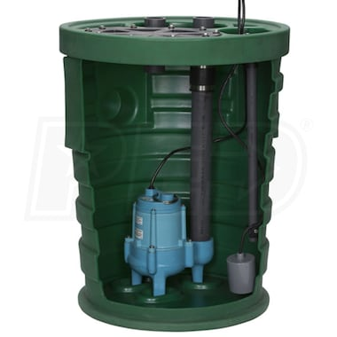 "Little Giant 9SF2V3D - Pit Plus® Sr. 4/10 HP Premium Simplex Sewage System w/ Tether Float Switch (2"" Vent, 3"" Discharge)"