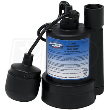 Superior Pump 92250 - 1/4 HP Thermoplastic Submersible Sump Pump w/ Tether Float Switch