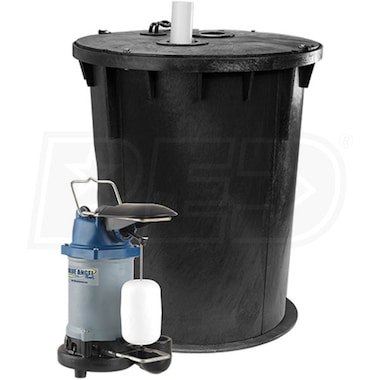 Blue Angel Pumps - 1/3 HP Cast Iron Job-Ready Indoor Sump System w/ Vertical Float Switch