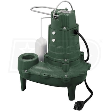 "Zoeller M267 - 1/2 HP Cast Iron Sewage Pump (2"") w/ Vertical Float (25' Cord)"